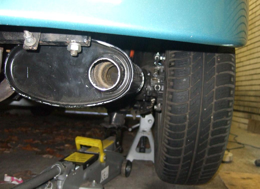 Modified hideout muffler rear view