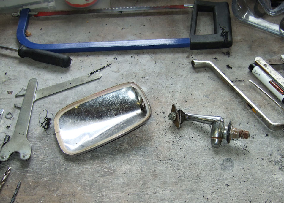 Standard mirror disassembled